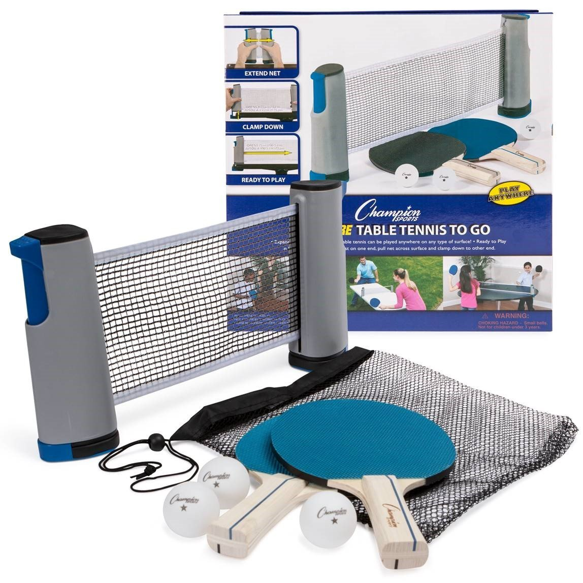 Champion Sports Anywhere Table Tennis: Ping Pong Paddles, Balls, and Portable Net & Post Set To Go